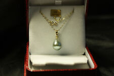 COLLIER PERLE DE TAHITI VERITABLE 10MMX14MM EN OR JAUNE 750/0000