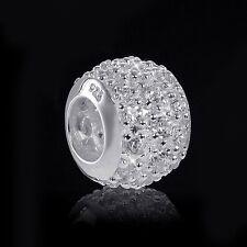 European Beads Zirkonia Perle weiß - 925 Silber Beads Kugel für Bead Armband