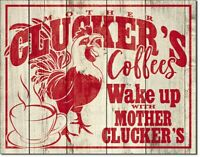 Coffee Chicken Metal Tin Ad Sign Picture Rooster Country Kitchen Decor Gift
