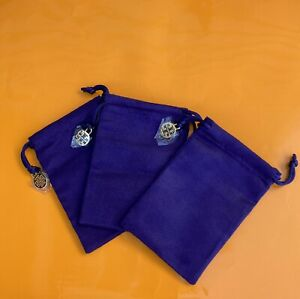 New Authentic Tory Burch Sealed Logo SMALL Blue Velvet Jewelry Pouch Set Of 3