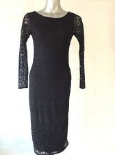 SIZE 10 BLACK STRETCH PAISLEY LACE DRESS GOTH VAMP WHITBY PARTY CHRISTMAS