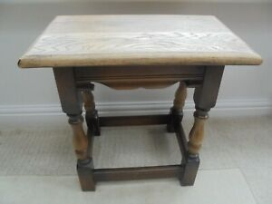 Tall small vintage solid oak coffee side table, bench, dark with light top