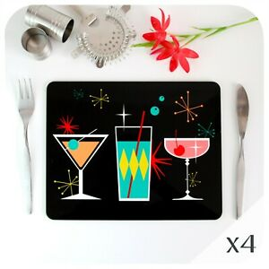 Cosmic Cocktails Placemats 4, Retro Christmas Place Mats, 50s Style Table Mats