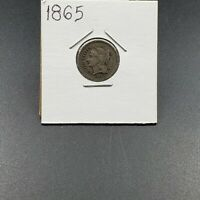 1865 3c 3CN Liberty Three Cent Nickel Coin Circulated Condition