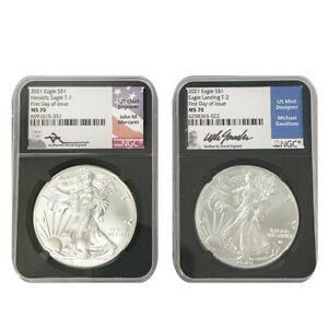 2021 2 Coin Silver Eagle Set T1 & T2 NGC MS70 FDOI Signed by Mercanti & Gaudioso
