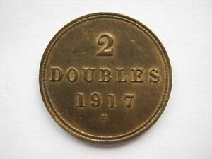 Guernsey 1917 bronze 2 Doubles UNC subdued lustre