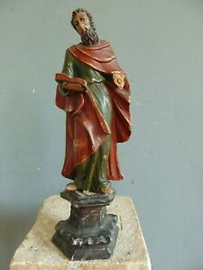 ANTIQUE SPANISH COLONIAL POLYCHROME SANTOS - WOOD CARVING