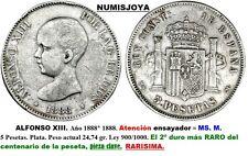RARA MONEDA CON CERTIFICADO de 5 pesetas 1888 MSM. Alfonso XIII. Peso 24.74 gr.