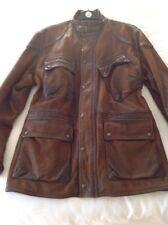 Ralph Lauren Leather Motor Bike Jacket XL Heavy Brown Cowhide Excellent