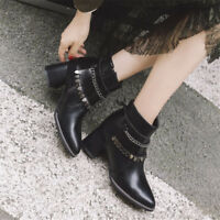 Retro Women Punk Ankle Boots Pointy Toe Block Mid Heel Leather Plus Size Booties