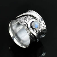 Moonstone Solid 925 Sterling Silver Spinner Ring Jewelry All Size Handmade AK-16