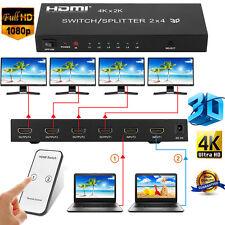 2 in 4 out HDMI Splitter 4K X 2K 3D 1080P Schalter Verteiler Repeater FullHD 1.4