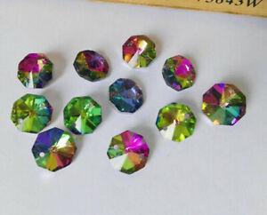 100Pc 14mm Crystal Octagonal Loose Beads Chandelier Prisms SunCatcher Lamp Part~