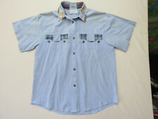 F-008 LADIES VINTAGE 80s CENTRAL AVENUE CHECK COTTON DENIM SHIRT SIZE M OR 12