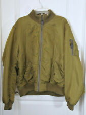 Polo Jeans Company Olive Green Bomber Jacket Orange Fleece Lining Size L