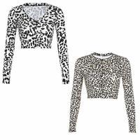 Damen Leoparden Crop Top V Ausschnitt Langarm Cardigan T-Shirt Tops mit Knopf