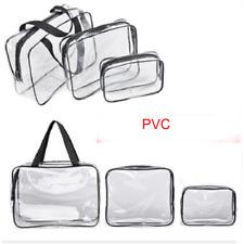 3Pcs Clear Transparent PVC Travel Cosmetic Make Up Toiletry Bag Set