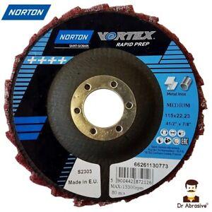 Norton Vortex 115mm Rapid Prep Flap Disc MEDIUM for cleaning deburring finishing