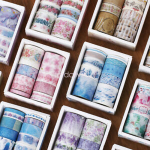 10 Rolls Washi Tape Decorative Scrapbooking Paper Adhesive Sticker Craft Set