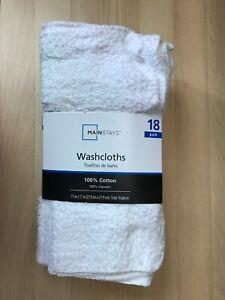 Mainstays 1PACK=18 PCS 100% Cotton Washcloth White Colors