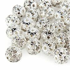 Round Charm Flower 100pcs 10mm Carved Hollow Spacer Silver Plated Beads
