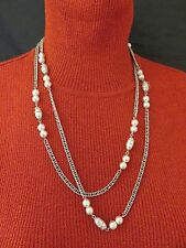 Sarah Coventry Vintage Necklace Faux Pearl Long 50 inch Silver Chain Link 325g