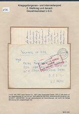 K702) prigionieri di guerra posta BRF AB Stockach 30.9.46 pwe445 APO 21 ra4 return