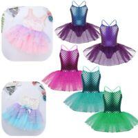 Kids Girls Glitter Mermaid Costume Ballet Dance Gymnastics Leotard Tutu Dress