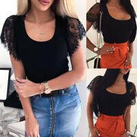 Women Lace Mesh T-shirt Short Sleeve Casual Top Blouse Summer Scoop Neck Shirt