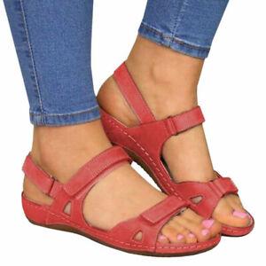 Ladies Summer Orthopedic Wedge Sandals Casual Walking Slingback Flat Shoes Size