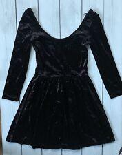 Topshop Black Velvet Low Back Skater Mini Dress 8 - B16