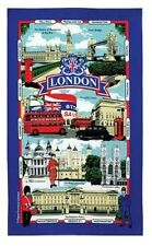 London Landmarks Tea Towel Souvenir Gift Street Names Scenes Blue UK Collage GB
