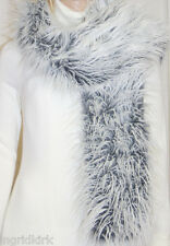MONGOLIAN WHITE / GREY  FAUX FUR WRAP SCARF SHAWL NWT !