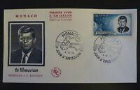 MONACO PREMIER JOUR FDC YVERT  658      KENNEDY      0,50F      1964