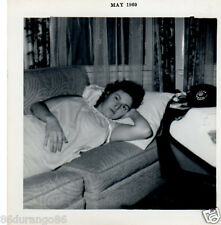 VINTAGE PHOTOGRAPH 1960 WOMAN NAPPING ON THE COUCH OLD PHONE