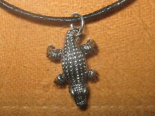 25MM ANTIQUE SILVER ALLIGATOR CROCODILE 3D GATOR PENDANT CHARM NECKLACE