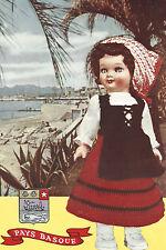 Vintage Crochet PATTERN to make Doll Clothes Dress Apron Scarf Hat France Basque
