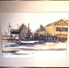 TOM FONG original watercolor waterfront Listed Artist