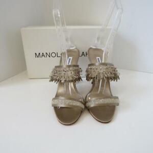 NIB Manolo Blahnik Nude Satin/Crystal Strappy Evening Heels/Shoes EUR 38.5
