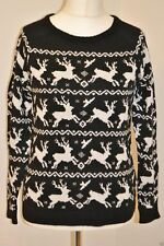 LADIES NEW CHRISTMAS BLACK REINDEER JUMPER UK 10