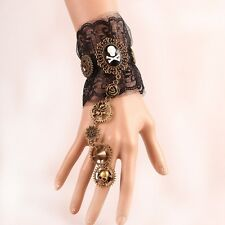 Vintage Gothic Steampunk Skull Bracelet With Ring Gear Victorian Lace Wrist Cuff