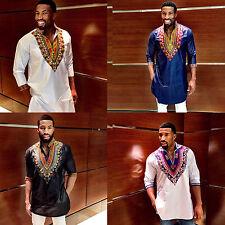 Men's Three-Quarter-Sleeve Long-line Shirt Dashiki Designs