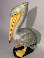 Pelican On Piling Hand Carved Wood Tropical Sculpture Bird Decor