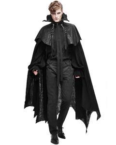 Devil Fashion Mens Long Gothic Cloak Cape Black Dieselpunk Apocalyptic Vampire