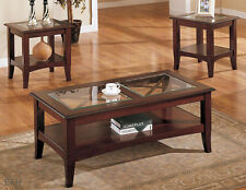 NEW 3PC BELGRADE GLASS INSERT WARM CHERRY FINISH WOOD COFFEE END TABLE SET