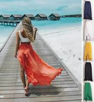 Lady Summer Beach Chiffon Flouncing Skirt Long Maxi Dress Gypsy Jersy Split 8-16