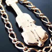 Charm Bracelet Cuff Bangle Real 14kt Rose Gold Solid Violin Antique Design