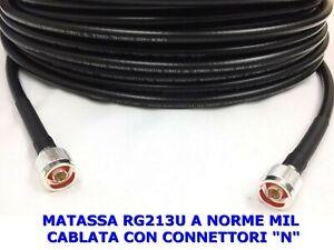 CAVO COASSIALE RG213U A NORME MIL CABLATO CONNETTORI N OTTIMO SU VHF UHF