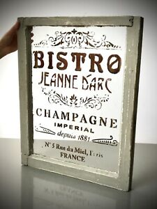 VINTAGE FRENCH WINDOW, PARISIAN CAFE SOCIETY GRAPHICS. CHAMPAGNE. BISTRO. 1881.