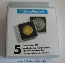 Pack / 5 Lighthouse Quadrum XL 55mm Square Coin Capsules medallion snaps holders